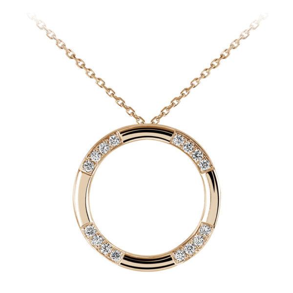 Waskoll collier or rose et diamants